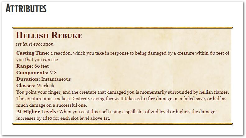 Hellish Rebuke 5e